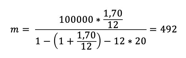 formule calcul interet emprunt